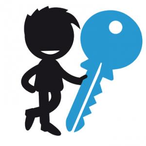 Männchen mit Schlüssel